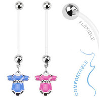 NPG-1002 Bio Flex Pregnancy Navel Ring with Baby Onesie Dangle