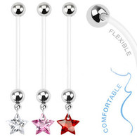 NPG-1006 Bio Flex Pregnancy Navel Ring with Star Gem Dangle