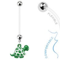 NPG-1004 Bio Flex Pregnancy Navel Ring with Turtle Dangle