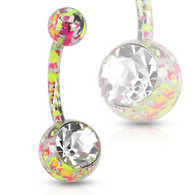 NSD1902 Pink and Yellow Paint Splatter Navel Ring with Large CZ