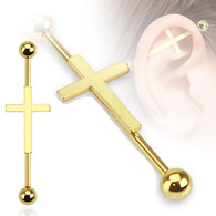 BSP-5974GD-35 Gold Plated Cross Industrial Barbell