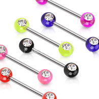 KB01 Nipple Bar with Double Front Facing Gems