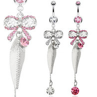 NAL13203 Multi-Paved Ribbon with Leaf Dangle Navel Ring