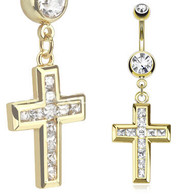GDPN13415 14kt Gold Plated Navel Ring Cross Dangle