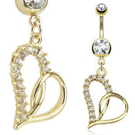 GDPN13416 14kt Gold Plated Navel Ring Loop Heart Dangle