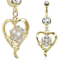 "GDPN13418 14kt Gold Plated Navel RingHeart with ""LOVE"""
