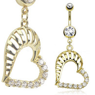 GDPN13419 14kt Gold Plated Navel Ring Patterned Heart Dangle