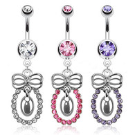 NAL13159 Bow Dangle Navel Ring