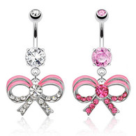 NAL13189 Ribbon with Pink Epoxy Dangle Navel Ring