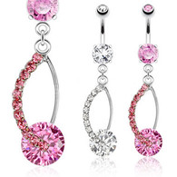 NAL13214 Large Gem Dangle Navel Ring