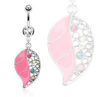 NAL13248 Pink Epoxy Leaf Dangle Navel Ring