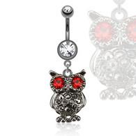 NAL13429 Owl with Gemmed Eyes Dangle Navel Ring