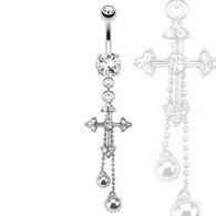 NAL13454 Cross Chains Dangle Navel Ring