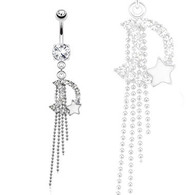 NAL13458  Epoxy Star and Chains Dangle Navel Ring