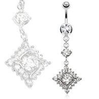 NSQ-5002  Diamond Dangle with Paved CZs