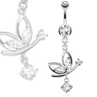 NSQ-5003 Butterfly Navel Ring with Round CZ Dangle