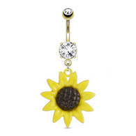 BELLYRING SUNFLOWER DANGLE GDPN15182