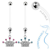 Paved Gems Crown Dangle Bio Flex Pregnancy Navel Ring NPG15228