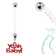 'Yeah Baby' Dangle Bio Flex Pregnancy Navel Ring NPG15233