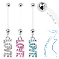 'Love' Dangle Bio Flex Pregnancy Navel Ring NPG15238