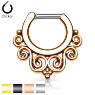 SEP-37 Tribal Swirls IP 316L Septum Clicker