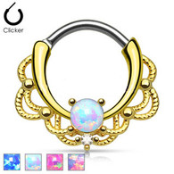 SEP2-30 Gold Lacey Single Opal Septum Clicker