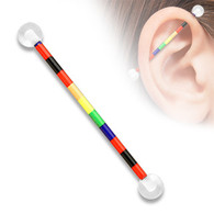 Rainbow Pattern Printed Industrial Barbell BSPA01-03