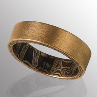 18K yellow gold ring with Mokume Gane on the inside (copper and silver).  6.5mm wide.