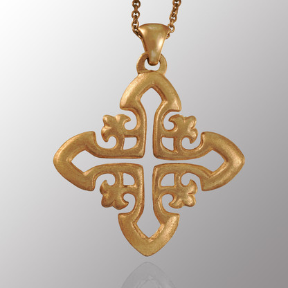 Sterling silver cross pendant with 22in. adjustable chain.  25X29mm.