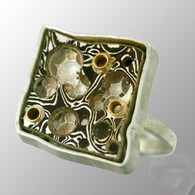 Sterling silver ring with 18K yellow gold and Mokume Gane (18K yellow gold and sterling silver).  18X18mm.
