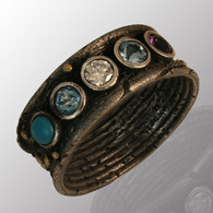 21K yellow gold and silver ring with diamond, amethyst, aquamarine, topaz and turquoise.  8mm wide.