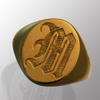 18K yellow gold ring with a customized monogram.  7mm wide.