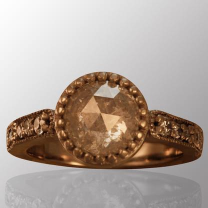 Palladium engagement ring with 1.3ct. center diamond and 0.4ct. side diamonds.