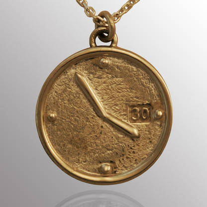 Silver clock pendant, customized to show the time of a child's birth.   17mm wide.