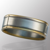 18K yellow gold and 14K white gold men's wedding band.