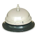 "CALL BELL BRUSHED NICKE W/BLACK BASE, 3-3/8""DIA"