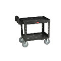 UTILITY CART 2 SHELF HVY DTY 24X36 BLA