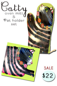 Catty Oven Mitt & Pot holder set