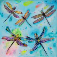 Aqua Dragonflies Print on Wood