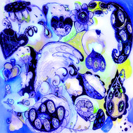 Navy swirl ceramic tile