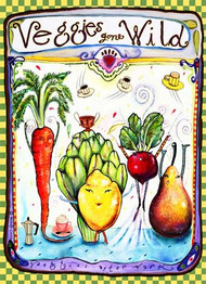 Wendy Costa glass cutting board Veggies gone wild