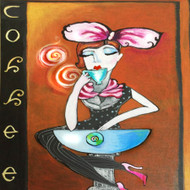 Coffee Girl Ceramic Tile Trivet