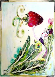 Strawberry Goddess Glass Cutting Board