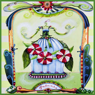 Heat safe ceramic glossy surface features the art of Wendy Costa, includes wall hanger and counter pads.