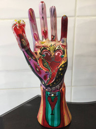 Red Crossed Heart Hand Sculpture
