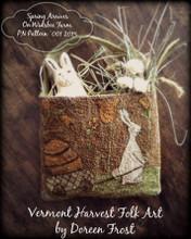 Spring Arrives on Widsbee Farm punchneedle pattern designer Vermont Harvest Folk Art
