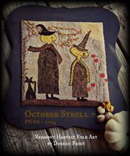 October Stroll punchneedle pattern designer Vermont Harvest Folk Art
