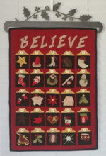 Holiday Traditions Advent Calendar designed by Lori Kobat Lily Anna Stitches LAS403  kit by Auntie Ju's Quilt Shoppe