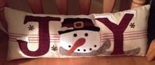 Joy pillow on toweling designed by Buttermilk Basin #1330