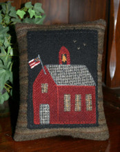 Little Schoolhouse pillow pattern and kit by Cricket Street Wool